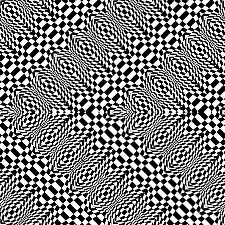 Design seamless monochrome zigzag pattern. Abstract illusion background. Ilustrace
