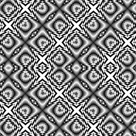 Design seamless monochrome zigzag pattern. Abstract illusion background. Illustration