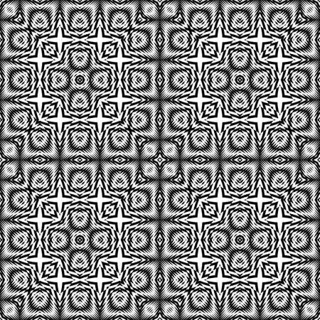 Design seamless monochrome geometric pattern. Abstract illusion background.