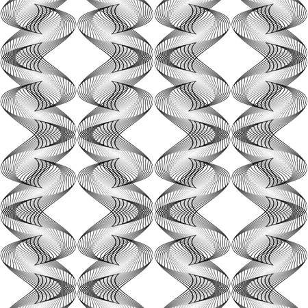 Design seamless monochrome waving pattern. Abstract decorative background. Vector art. No gradient Illustration