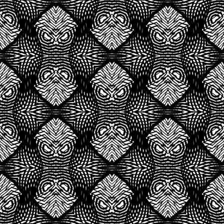 Design seamless monochrome lacy pattern. Abstract decorative background. Vector art. No gradient Çizim