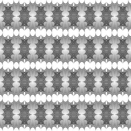 Design seamless monochrome lacy pattern. Abstract lines textured background. Vector art. No gradient Çizim