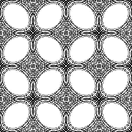 Design seamless monochrome ellipse pattern. Abstract lines textured background. Vector art. No gradient Illustration