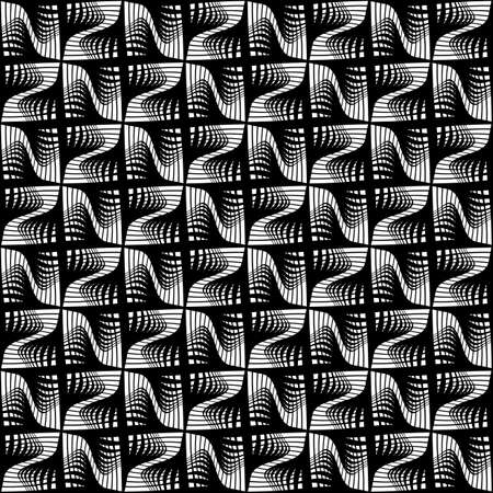 Design seamless monochrome decorative pattern. Abstract lines textured background. Vector art. No gradient Stock Vector - 90020817