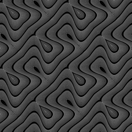Design seamless monochrome waving pattern. Abstract striped background. Vector art. No gradient Illustration