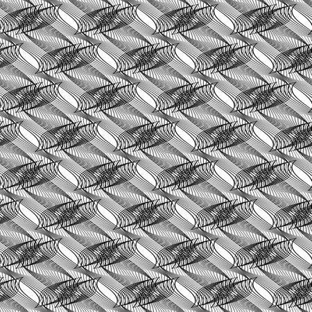 Design seamless monochrome decorative pattern. Abstract lines textured background. Vector art. No gradient Stock Vector - 90576089