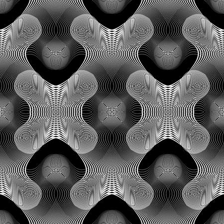Design seamless monochrome lacy pattern. Abstract decorative background. Vector art. No gradient 向量圖像