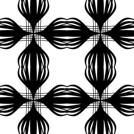 Design seamless monochrome decorative pattern. Abstract lines textured background. Vector art. No gradient. Ilustração