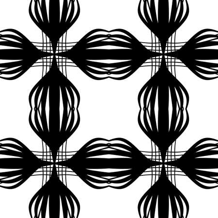 Design seamless monochrome decorative pattern. Abstract lines textured background. Vector art. No gradient. Illustration