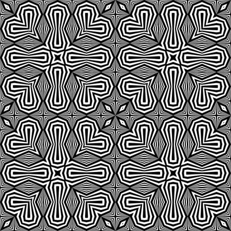 Design seamless monochrome decorative pattern. Abstract striped background. Vector art. No gradient. Illustration