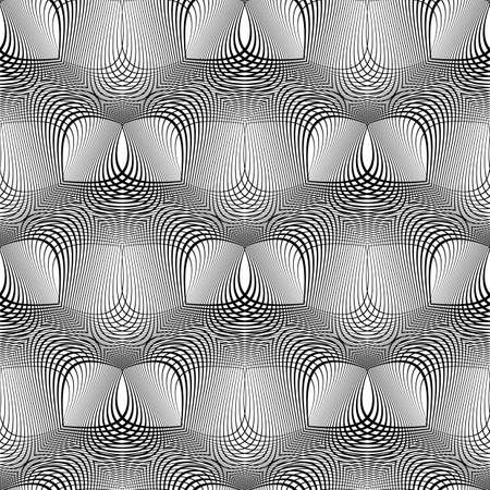 Design seamless monochrome waving pattern. Abstract background. Vector art. No gradient.