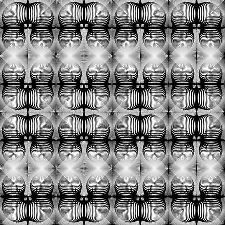 Design seamless monochrome decorative pattern. Abstract lines textured background. Vector art. No gradient. 向量圖像