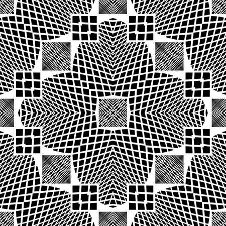 Design seamless monochrome geometric pattern. Abstract illusion background. Vector art. No gradient Ilustrace
