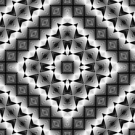 Design seamless monochrome geometric pattern. Abstract illusion background. Vector art. No gradient illustration.