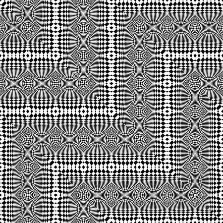 Design seamless monochrome zigzag pattern. Abstract illusion background. Vector art. No gradient Illustration