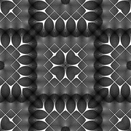 Design seamless monochrome lacy pattern. Abstract decorative background. Vector art. No gradient Ilustração