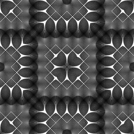 Design seamless monochrome lacy pattern. Abstract decorative background. Vector art. No gradient Vettoriali