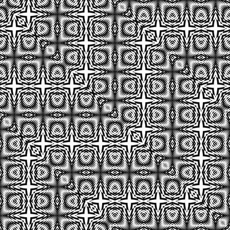 Design seamless monochrome zigzag pattern. Abstract illusion background. Vector art. No gradient. Illustration