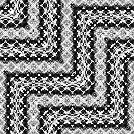 Design seamless monochrome zigzag pattern. Abstract illusion background. Vector art. No gradient. Ilustrace