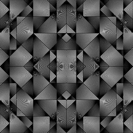 Design seamless monochrome geometric pattern. Abstract illusion background. Vector art. No gradient 向量圖像