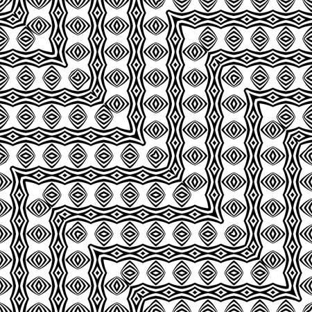 Design seamless monochrome zigzag pattern. Abstract background. Vector art. No gradient illustration. Ilustração
