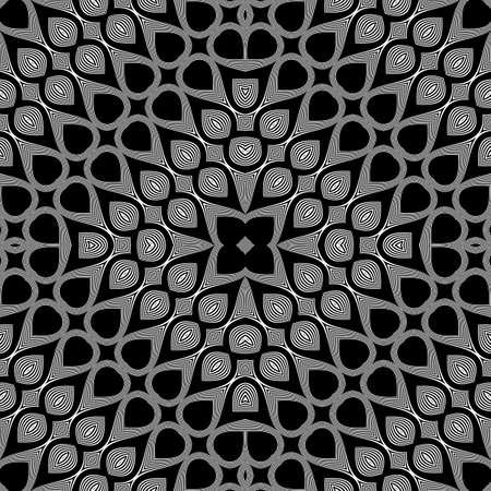 Design seamless monochrome grid pattern. Abstract illusion background. Vector art. No gradient Ilustração