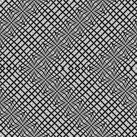 シームレスなワープジグザグパターンを設計します。抽象的なモノクロの背景。ベクターアートグラデーションなし