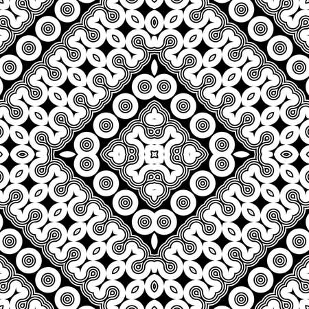 Design seamless monochrome geometric pattern. Abstract illusion background. Vector art. No gradient Illustration