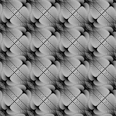 Design seamless monochrome decorative pattern. Abstract lines textured background. Illustration
