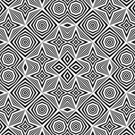 Design seamless monochrome decorative pattern. Abstract striped background. Vector art. No gradient