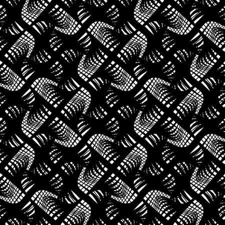 シームレスなモノクログレーティングパターンをデザインします。抽象的な線は背景をテクスチャーします。ベクターアート。グラデーションなし