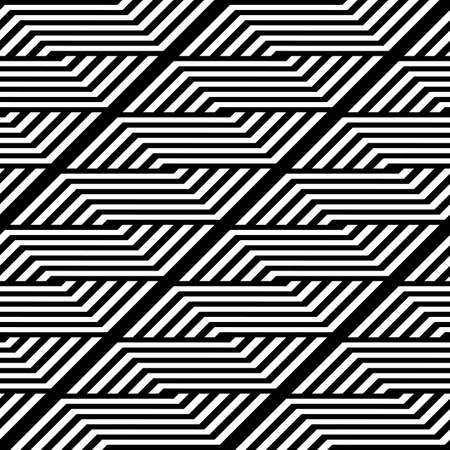Design seamless monochrome zigzag pattern. Abstract stripy background. Vector art. Ilustração