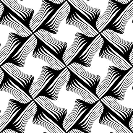 Design seamless monochrome decorative pattern. Abstract lines textured background. Vector art. No gradient. Stock Vector - 96076565