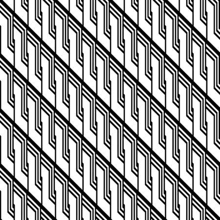 Design of a seamless monochrome zigzag and twisting pattern.