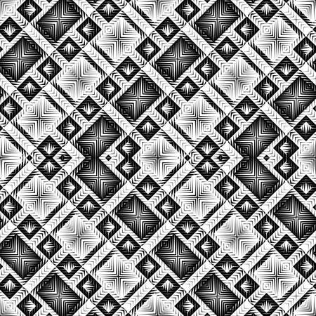 Design of seamless monochrome zigzag and square pattern.
