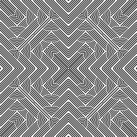 Black and white design with monochrome interlaced pattern. Illustration
