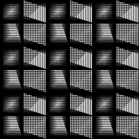 Design seamless monochrome geometric pattern. Abstract striped textured background. Vector art. No gradient