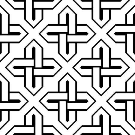 Design seamless monochrome geometric pattern. Abstract background. Ilustração