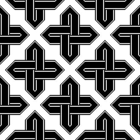 Design seamless monochrome geometric pattern. Abstract background vector art. Ilustração
