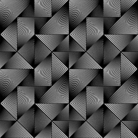 Design seamless monochrome geometric pattern. Abstract illusion background. Vector art. No gradient  イラスト・ベクター素材