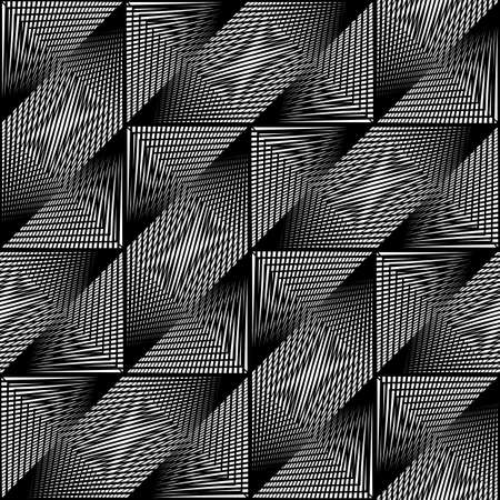 Design seamless monochrome geometric pattern. Abstract illusion background. Vector art.