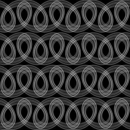 Design seamless monochrome ellipse pattern. Abstract lines textured background. Vector art. No gradient Illustration