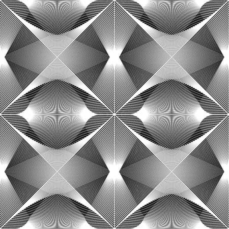 Design seamless monochrome geometric pattern. Abstract lines textured background. Vector art. No gradient