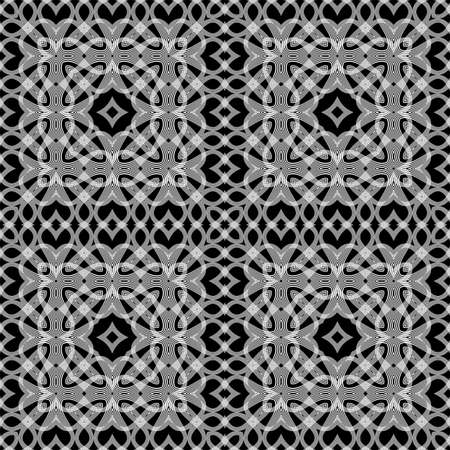 Design seamless monochrome lacy pattern. Abstract decorative background. Vector art. No gradient  イラスト・ベクター素材