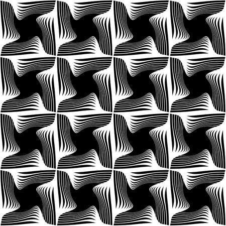 Design seamless monochrome decorative pattern. Abstract lines textured background. Vector art. No gradient Stock Vector - 101816017