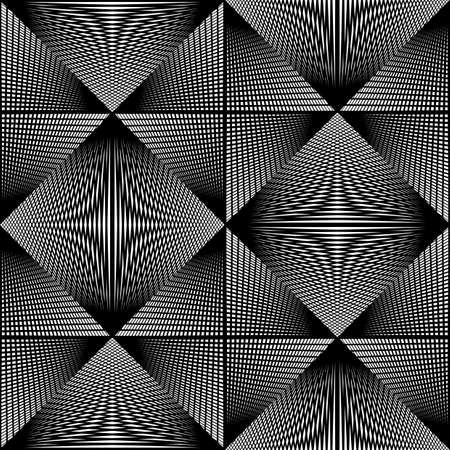 Design seamless monochrome geometric pattern. Abstract illusion background. Vector art. No gradient Ilustração