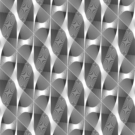 Design seamless monochrome waving pattern. Abstract decorative background. Vector art. No gradient Ilustração