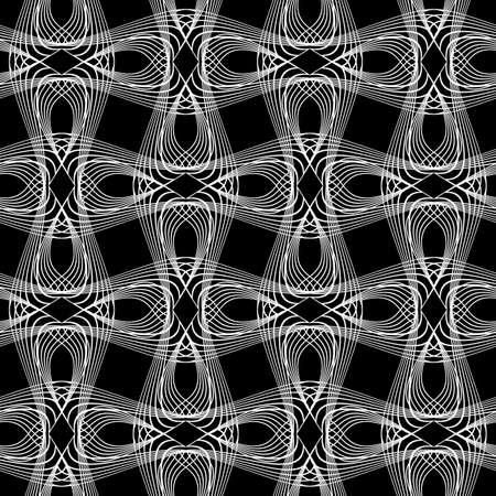 Design seamless monochrome waving pattern. Abstract decorative background. Vector art. No gradient Ilustração