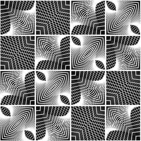 Design seamless monochrome geometric pattern. Abstract decorative background. Vector art. No gradient
