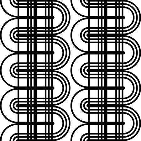 Design seamless monochrome waving pattern. Abstract lines textured background. Vector art. No gradient